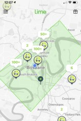 """People can find and hire a Lime scooter via the app. The green rectangle shows the """"geofencing"""" area in Brisbane's inner-city."""
