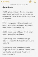 Jess began taking notes of her symptoms on the plane on March 20.
