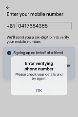 """Reader Catherine Smithson sent in this picture of the COVIDSafe app not accepting her number with the """"0"""" in front."""