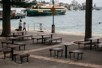 An empty Manly Cove in Sydney. Delta has spread despite lockdowns and contact tracing.