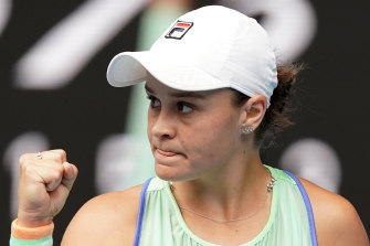 Ashleigh Barty during her win on Friday.