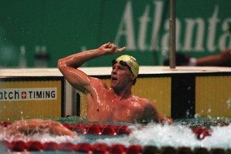 Kieren Perkins triumphs in Atlanta in 1996.