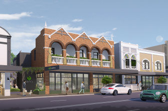 An artist's impression of the proposed Woolworths store on Military Road in Mosman. The proposal keeps the existing shopfronts.