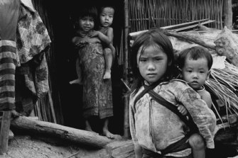 Hmong refugees in camp in Thailand in 1979.