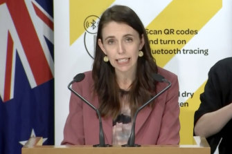 New Zealand Prime Minister Jacinda Ardern discussing the outbreak.