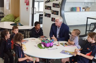 Keysborough Gardens Primary School students with principal Phil Anthony