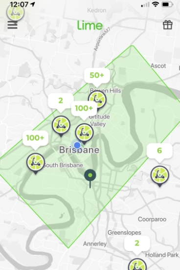 "People can find and hire a Lime scooter via the app. The green rectangle shows the ""geofencing"" area in Brisbane's inner-city."
