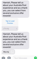 The offending text messages from 'Australia Post'