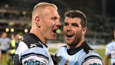 Divisive: Luke Lewis and Michael Ennis celebrate after beating the Raiders in a semi-final in 2016, after which Ennis mockingly performed the viking clap in front of Canberra fans.
