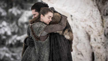 Arya Stark (Maisie Williams) and Jon Snow (Kit Harington) in a scene from the season eight premiere of Game of Thrones.