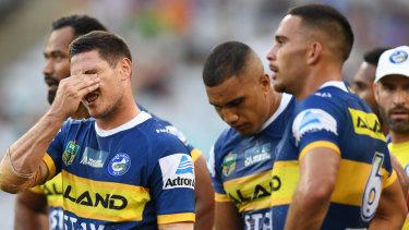 Difficult season: The halves combination between Corey Norman, right, and Mitchell Moses, left, failed to yield results.
