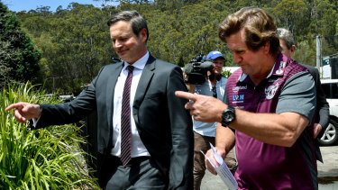 That way: Manly chairman Scott Penn and newly appointed Manly coach Des Hasler.