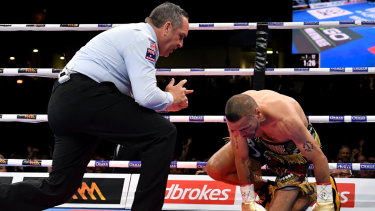 Sucker for punishment: Anthony Mundine is counted out after being felled by a Jeff Horn left hook.