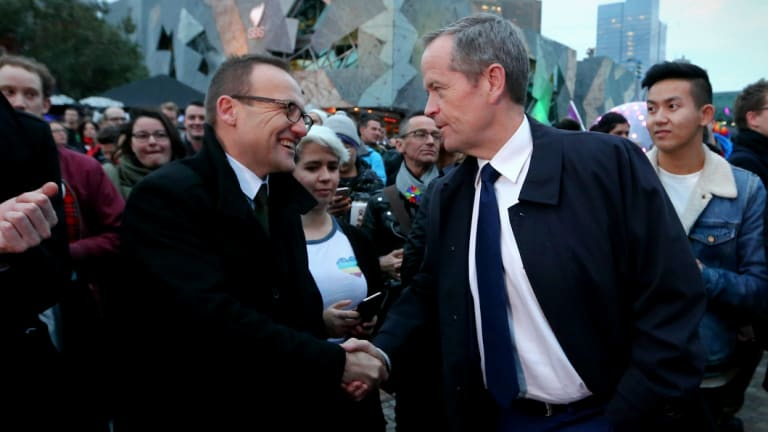 Greens climate change spokesman Adam Bandt and Labor leader Bill Shorten.