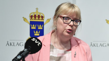 Deputy Director of Public Prosecution Eva-Marie Persson speaks in Stockholm on Monday.