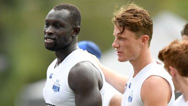 Majak Daw and Lachlan Hosie at Roos training.