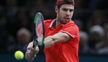 Russian Karen Khachanov on his way to beating Serbian Novak Djokovic in the Paris Masters final on Sunday.