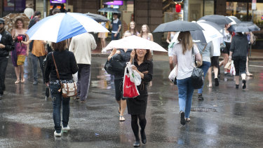 Rain across Brisbane was expected to clear up on Sunday night.