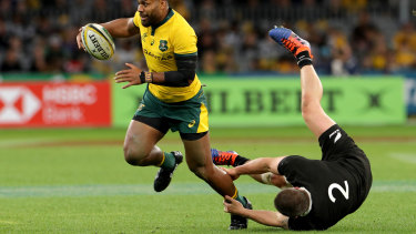 Upside Down: Front row forward Dane Coles bullldozed by Australian back Samu Kerevi.