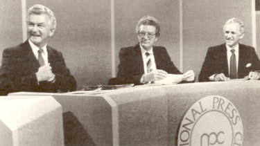 "Bob Hawke and Andrew Peacock at the National Press Club for the ""Great Debate"" of 1984."