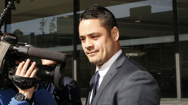 Former NRL player Jarryd Hayne leaves the Newcastle Court in July 2019.