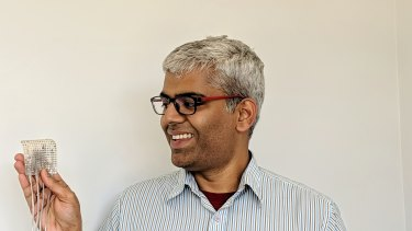 Gopala Anumanchipalli, one of the study's authors, holds a set of electrodes similar to the ones used in the study.