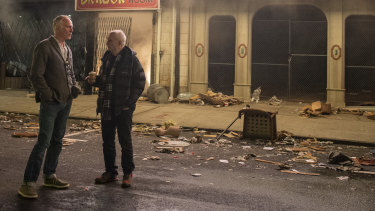 Director Alan Taylor and creator/writer/producer David Chase on the set of The Many Saints of Newark.