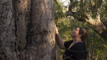 Gundungurra woman Kazan Brown with a scar tree on land that would be inundated by floodwater at Burnt Flat by the raising of the Warragamba Dam wall.
