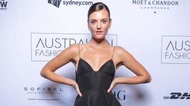Montana Cox in Alex Perry at the 2018 Australian Fashion Laureate Awards.