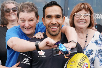 Happy homecoming: Eddie Betts is welcomed back to the Blues.