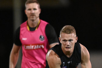 Pies coach Nathan Buckley has again denied he told Adam Treloar that senior players did not want him to stay at the club.