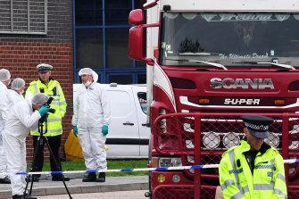 The lorry in which 39 bodies were found in Essex.