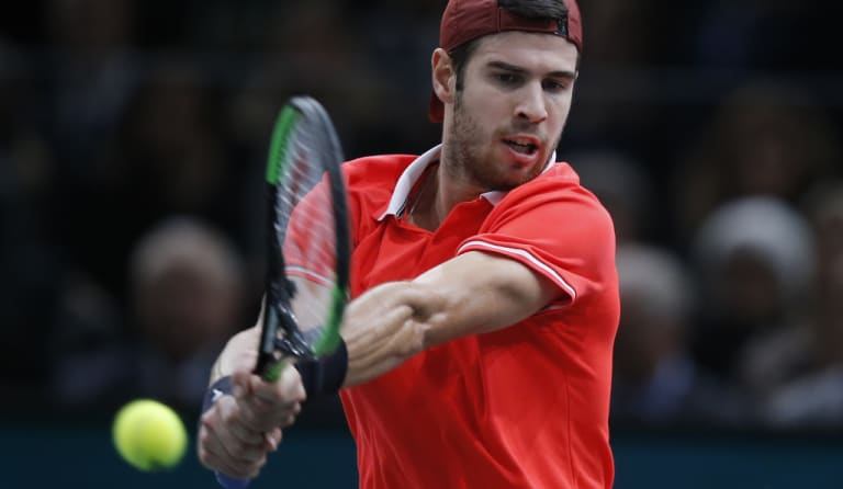 Russian Karen Khachanov on his way to beating Serbian Novak Djokovic in the Paris Masters final on Sunday.