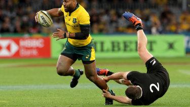 Upside Down: Front row forward Dane Coles bullldozed by Australian back Samu Kerevi.