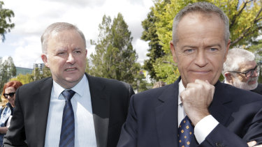 Shadow Infrastructure and Transport Minister Anthony Albanese  and Opposition Leader Bill Shorten as the 2019 election nears.