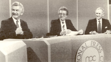"""Bob Hawke and Andrew Peacock at the National Press Club for the """"Great Debate"""" of 1984."""