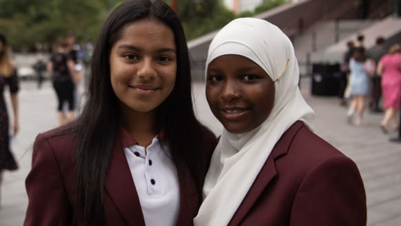 Zeenat Razak and Mariama Bah, both 13, are in year 7 at Chester Hill High School and heard Malala Yousafzai speak in Sydney earlier this week.