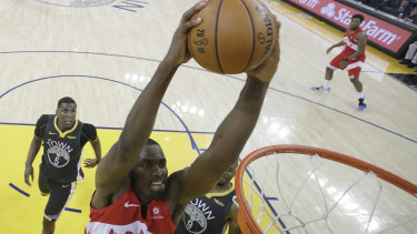 Toronto Raptors center Serge Ibaka (9) dunks against the Golden State Warrior during game four of the NBA finals.