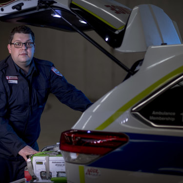 Graduate paramedic Matt Carter says he still finds ways to connect with patients while wearing PPE.