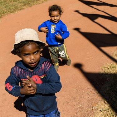 Donston, 4, and Jason, 2, at Indi Kindi in Boorroola.
