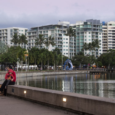 Hotels, some shuttered and the rest nearly empty, overlook the Cairns Esplanade.