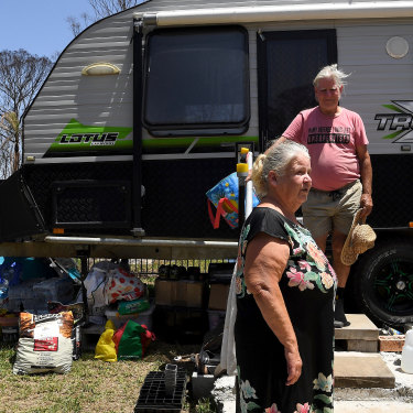 Gwenda and Keith Duncan moved into a caravan after the Hillville fire destroyed their home on November 8, 2019.