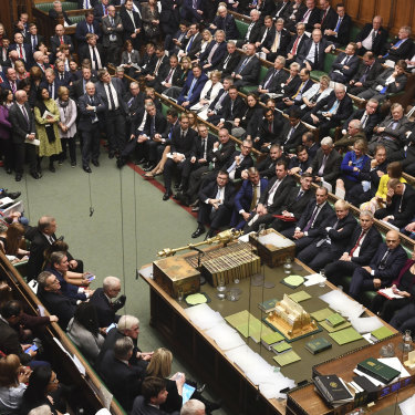The packed House of Commons during a debate on Brexit.