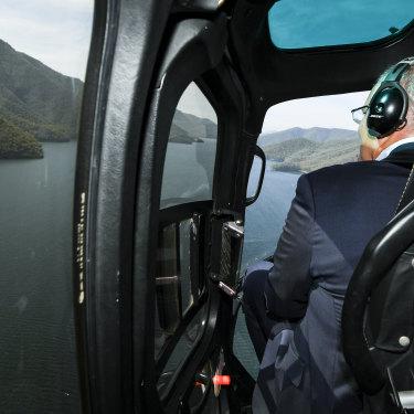 Scott Morrison flies over the Snowy Hydro scheme in NSW in February.