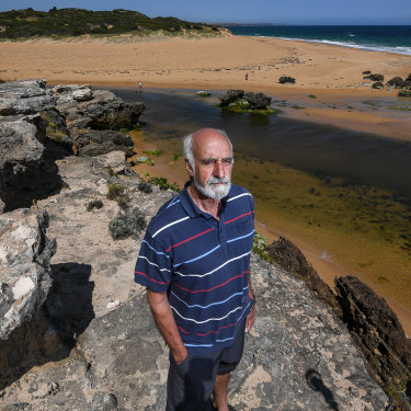 Environmental scientist John Sherwood on the site of Aboriginal middens and ancient campfires at the Moyjil midden site.
