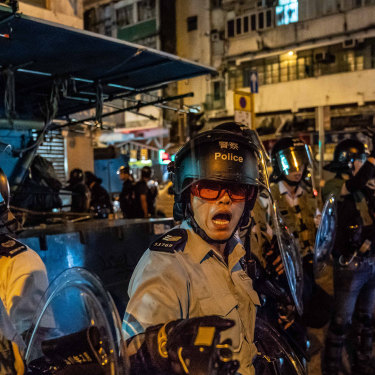 Riot police in the Sham Shui Po area in Kowloon on August 29.