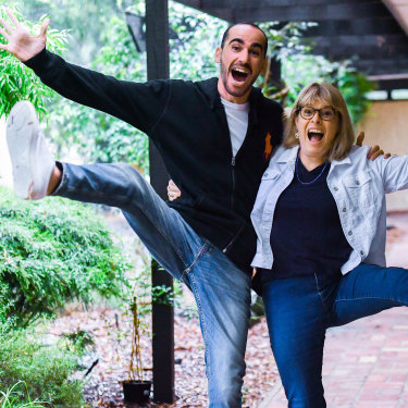 Moz Azimitabar with Fiona Trembath, who is hosting him at her home in Eltham.