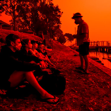 The blood-red Mallacoota sky during the devastating summer fires.