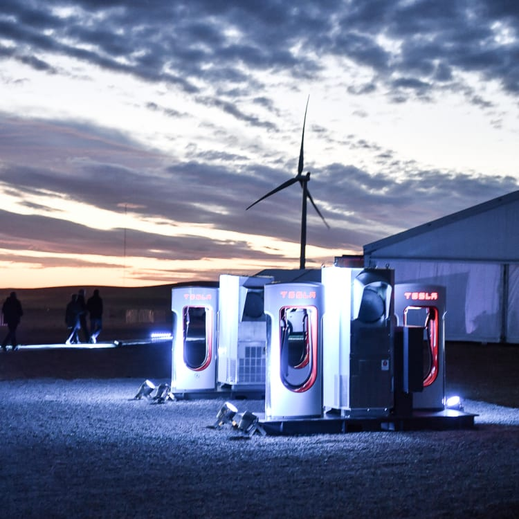 A car-charging station at Tesla's wind and solar battery plant outside of Jamestown, South Australia.