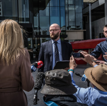 David Eastman's Legal Aid representative Angus Webb speaks after the trial.